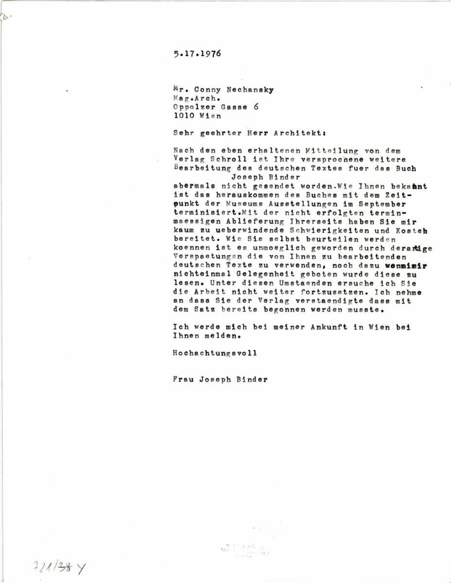 Brief an Herrn Nechansky (vom Bearbeiter vergebener Titel)