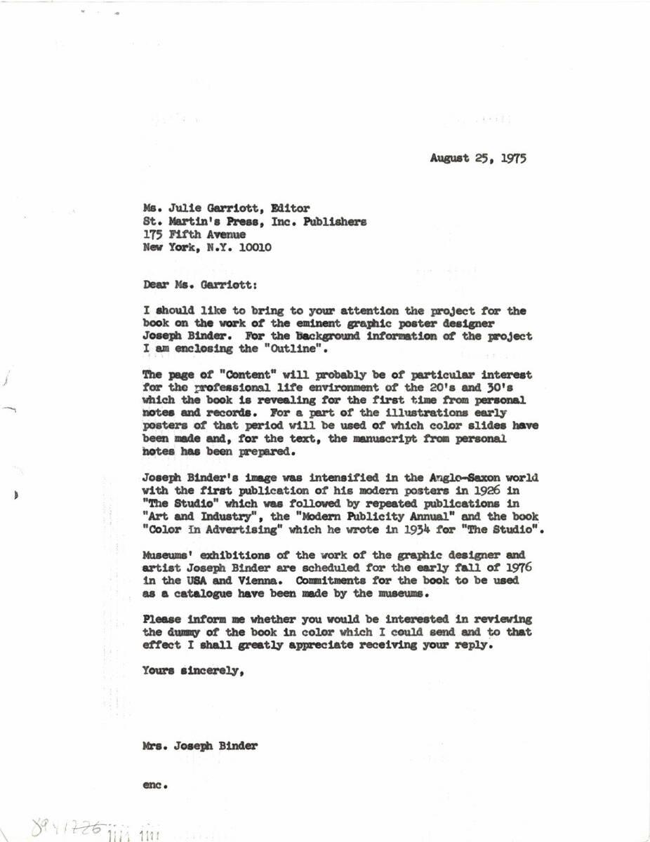 """Brief an """"St. Martin's Press, Inc."""" (vom Bearbeiter vergebener Titel) von Binder, Carla"""