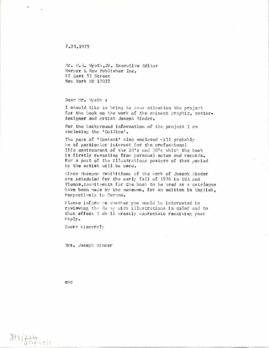 """Brief an """"Harper & Row, Publishers, Inc."""" (vom Bearbeiter vergebener Titel) von Binder, Carla"""