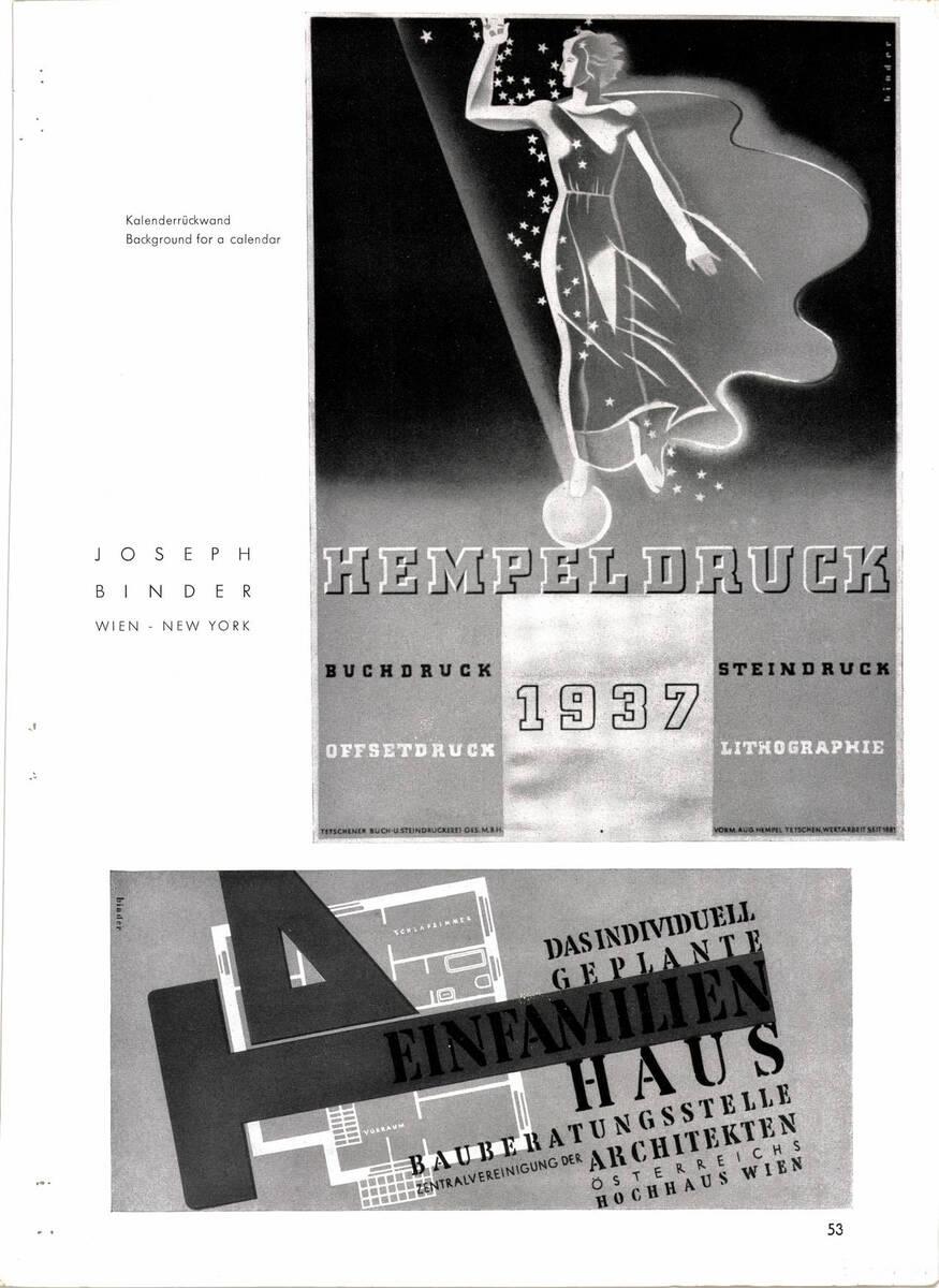 """Zeitschriftenartikel """"Joseph Binder. Wien - New York"""" (vom Bearbeiter vergebener Titel)"""