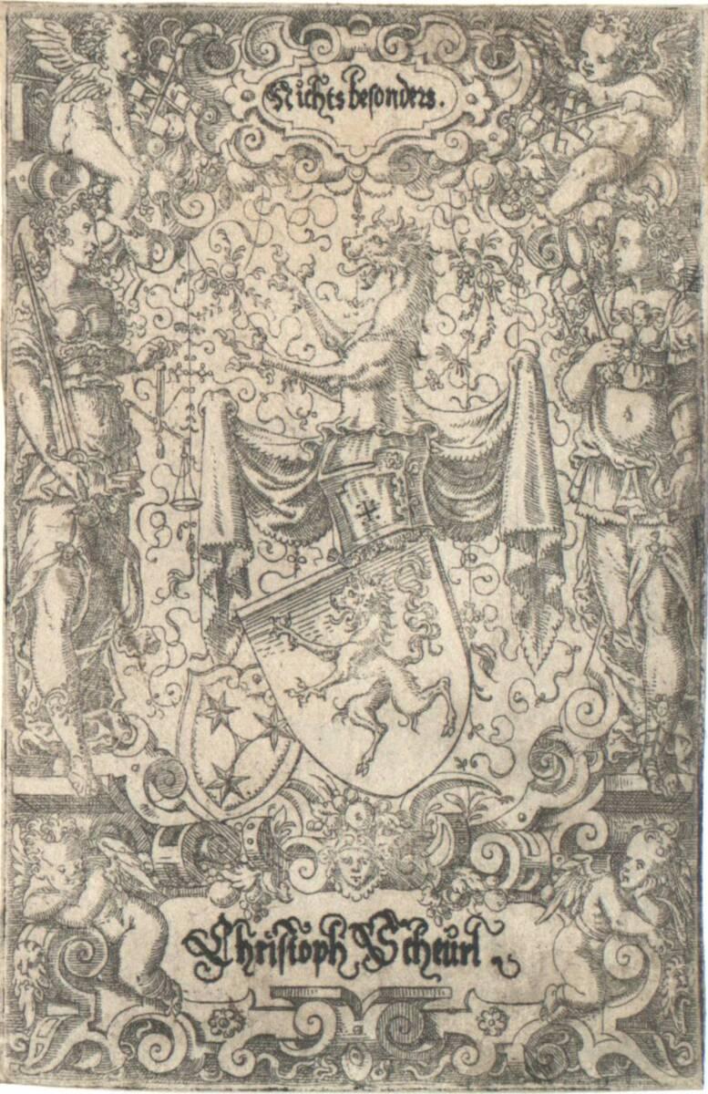 Wappen von Christoph Scheuerl von Defersdorf, rechts unten das Wappen der Geuder (vom Bearbeiter vergebener Titel) von Amman, Jost