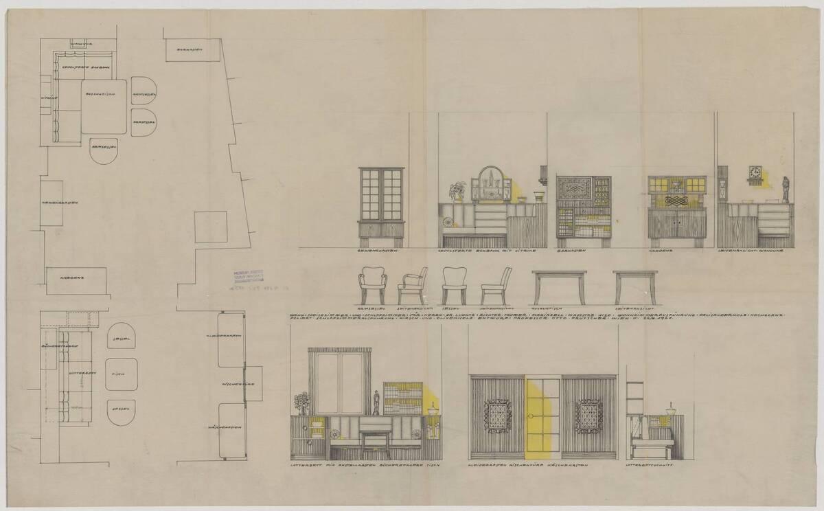 Einrichtungsplan mit Grundriss und Ansicht des Wohn-, Speise- und Schlafzimmers für Herrn Dr. Ludwig Richter-Trummer in Mariazell (vom Bearbeiter vergebener Titel) von Prutscher, Otto
