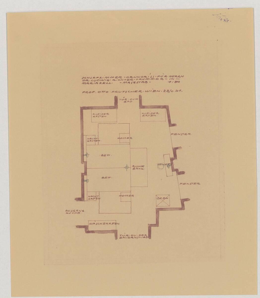 Grundriss des Schlafzimmers für Herrn Dr. Ludwig Richter-Trummer in Mariazell (vom Bearbeiter vergebener Titel) von Prutscher, Otto