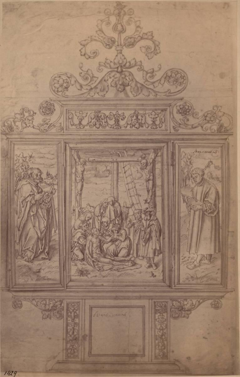 Fotografie einer Zeichnung eines Flügelaltars, von Lucas Cranach (der Ältere) (vom Bearbeiter vergebener Titel) von Anonym