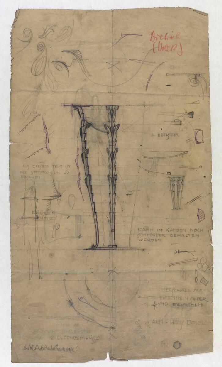 Entwurf und Detailstudien einer Zierschale (vom Bearbeiter vergebener Titel) von Bolek, Hans