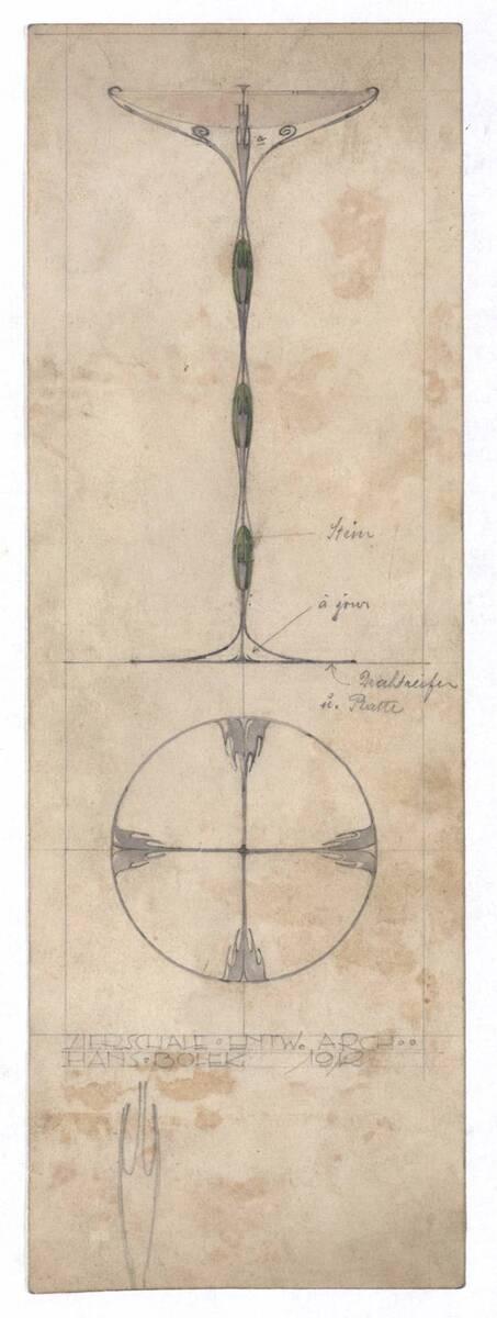 Auf- und Grundriss einer Zierschale (vom Bearbeiter vergebener Titel) von Bolek, Hans