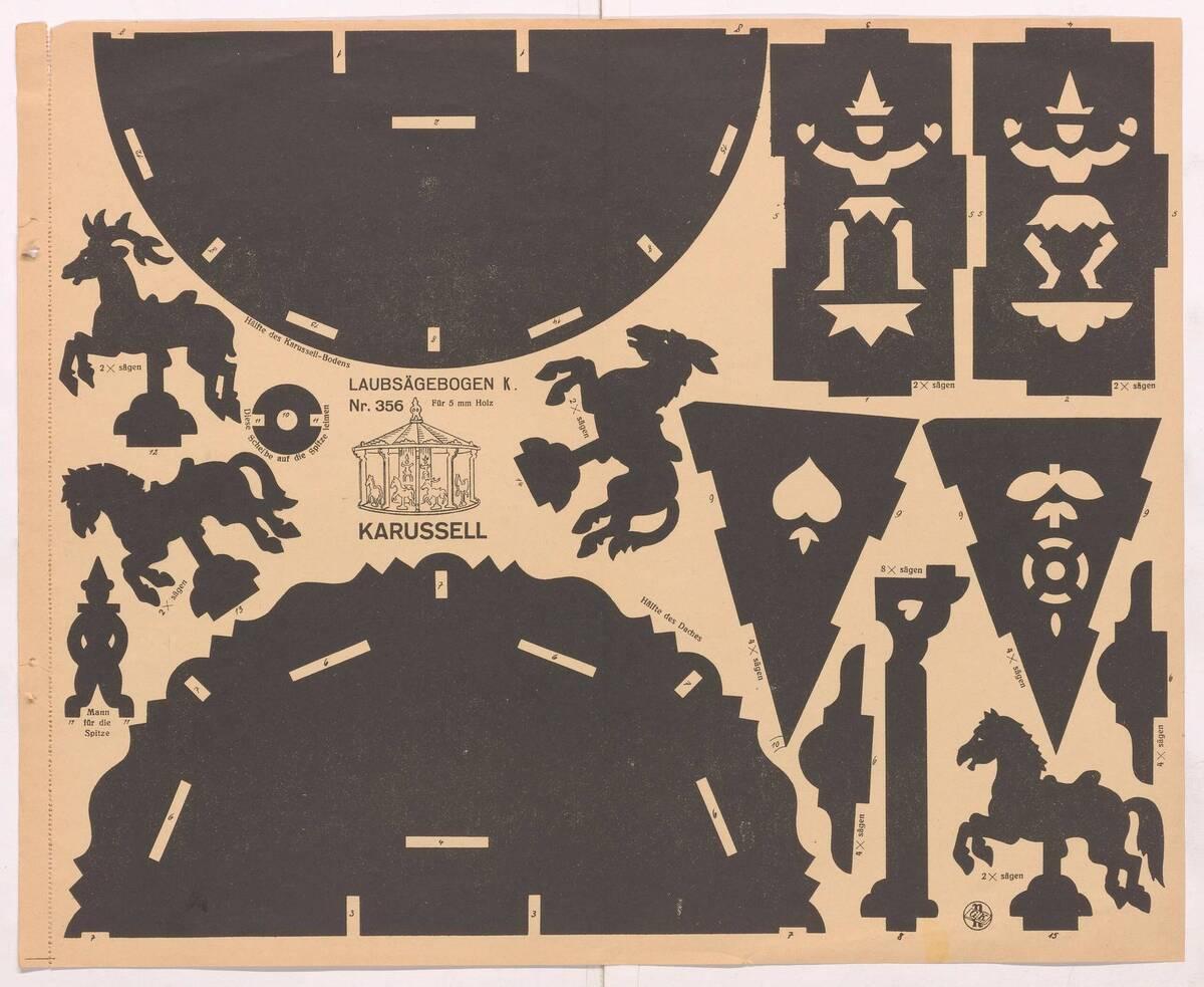 Schablonen aus einem Heft für Laubsägearbeiten von Anonym