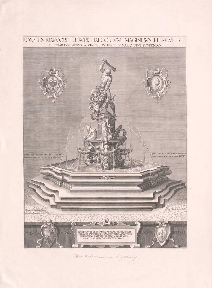 Der Herkulesbrunnen in Augsburg, Neudruck (vom Bearbeiter vergebener Titel) von Vries, Adriaen de
