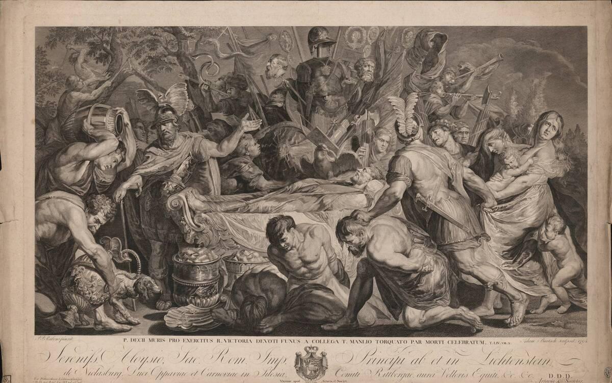 P.DECII MURIS PRO EXERCITUS R. VICTORIA DEVOTI FUNUS A COLLEGA T. MANLIO TORQUATO PAR MORTI CELEBRATUM [Die Totenfeier für Decius Mus (nach Rubens)] (Originaltitel) von Rubens, Peter Paul