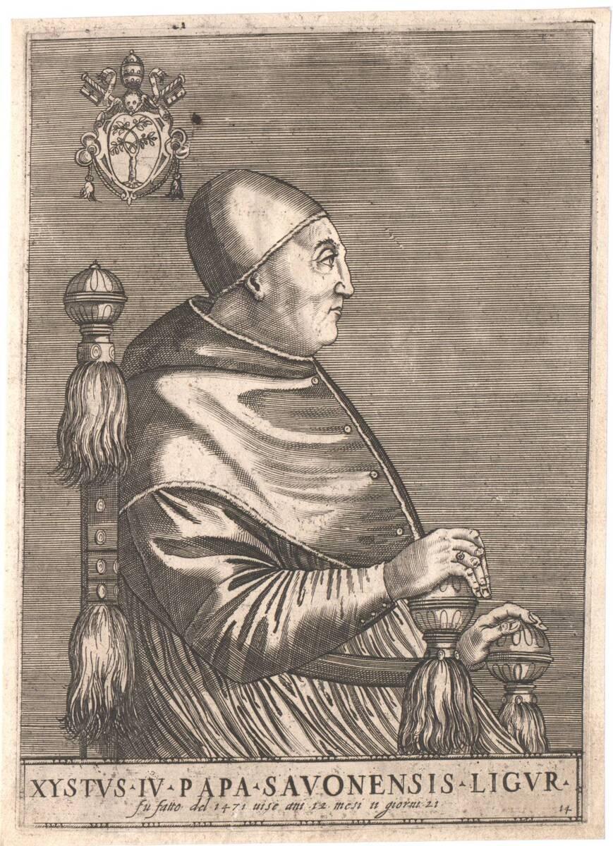 """Portrait von Papst Sixtus IV, Blatt 14 aus einer erweiterten Folge von """"Pontificium Maximorum XXVII Effigies"""", herausgegeben von Oratio Fabriani (vom Bearbeiter vergebener Titel) von Soye, Philippe de"""
