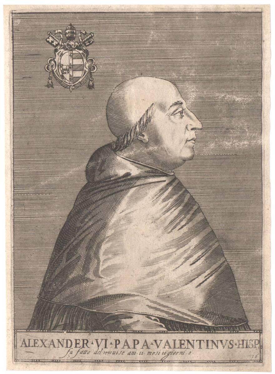 """Portrait von Papst Alexander VI., Blatt 16 aus einer erweiterten Folge von """"Pontificium Maximorum XXVII Effigies"""", herausgegeben von Oratio Fabriani (vom Bearbeiter vergebener Titel) von Soye, Philippe de"""