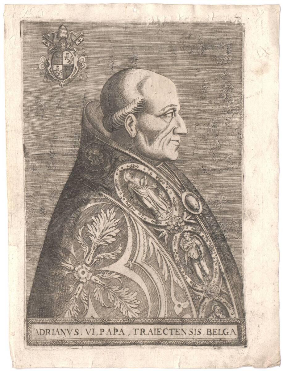 """Portrait von Papst Adrian VI, Blatt aus einer erweiterten Folge von """"Pontificium Maximorum XXVII Effigies"""", herausgegeben von Oratio Fabriani (vom Bearbeiter vergebener Titel) von Soye, Philippe de"""