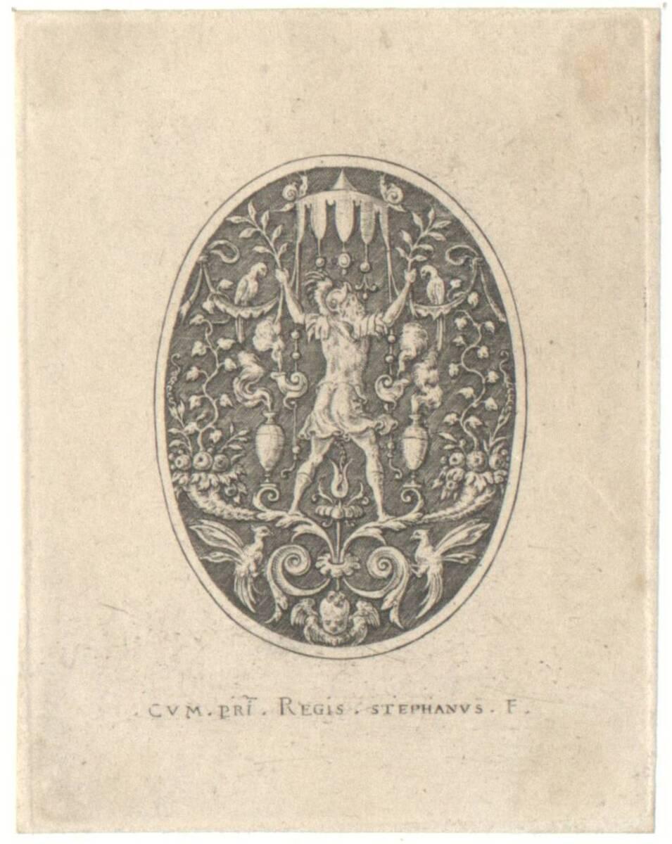 Mars, Blatt aus der Folge der antiken Gottheiten in Ovalen, auf schraffiertem Grund (Robert- Dumesnil Nr. 372) (vom Bearbeiter vergebener Titel) von Delaune, Etienne
