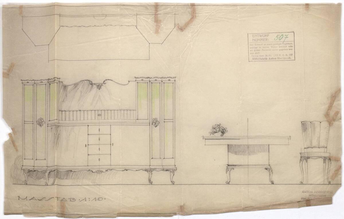 Anrichte, Tisch und Polsterstuhl (vom Bearbeiter vergebener Titel) von Möbelfabrik Herrgesell