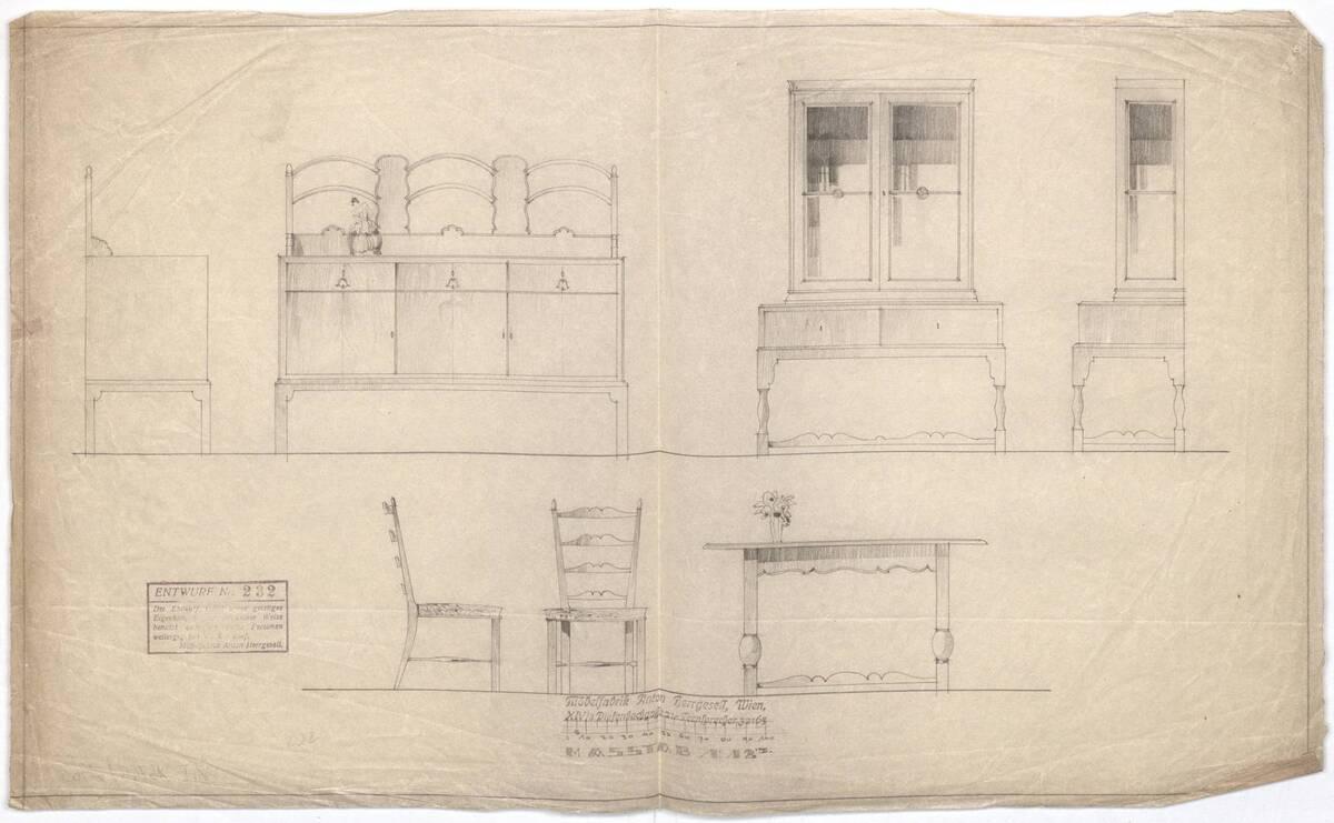 Anrichte, Aufsatzschrank, Polsterstuhl und Tisch (vom Bearbeiter vergebener Titel) von Möbelfabrik Herrgesell