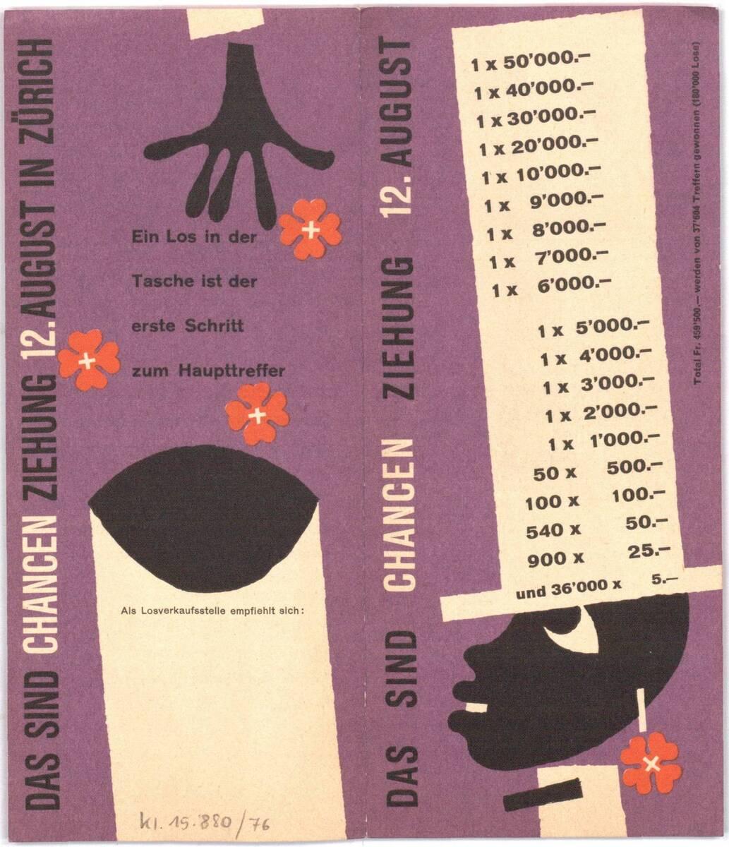 Broschüre der Interkantonalen Landes-Lotterie: Das sind Chancen. Ziehung 12. August von Anonym