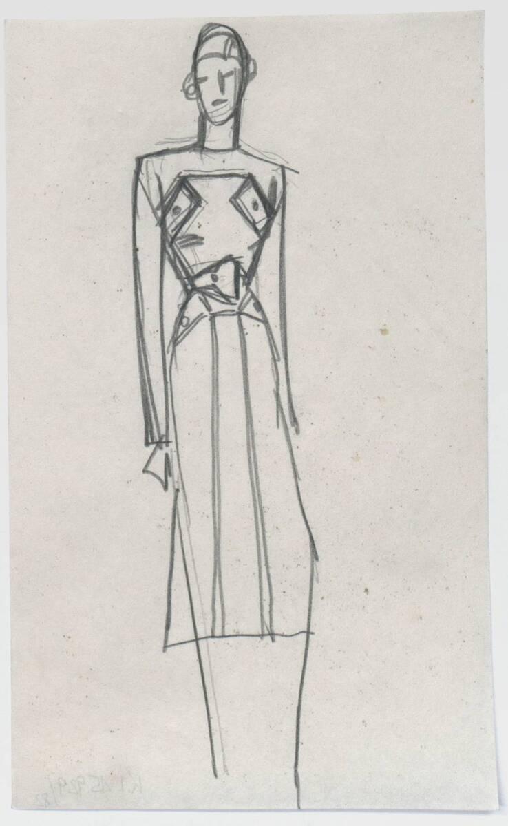 Skizze eines Mantels (vom Bearbeiter vergebener Titel) von Deutsch-Dryden, Ernst