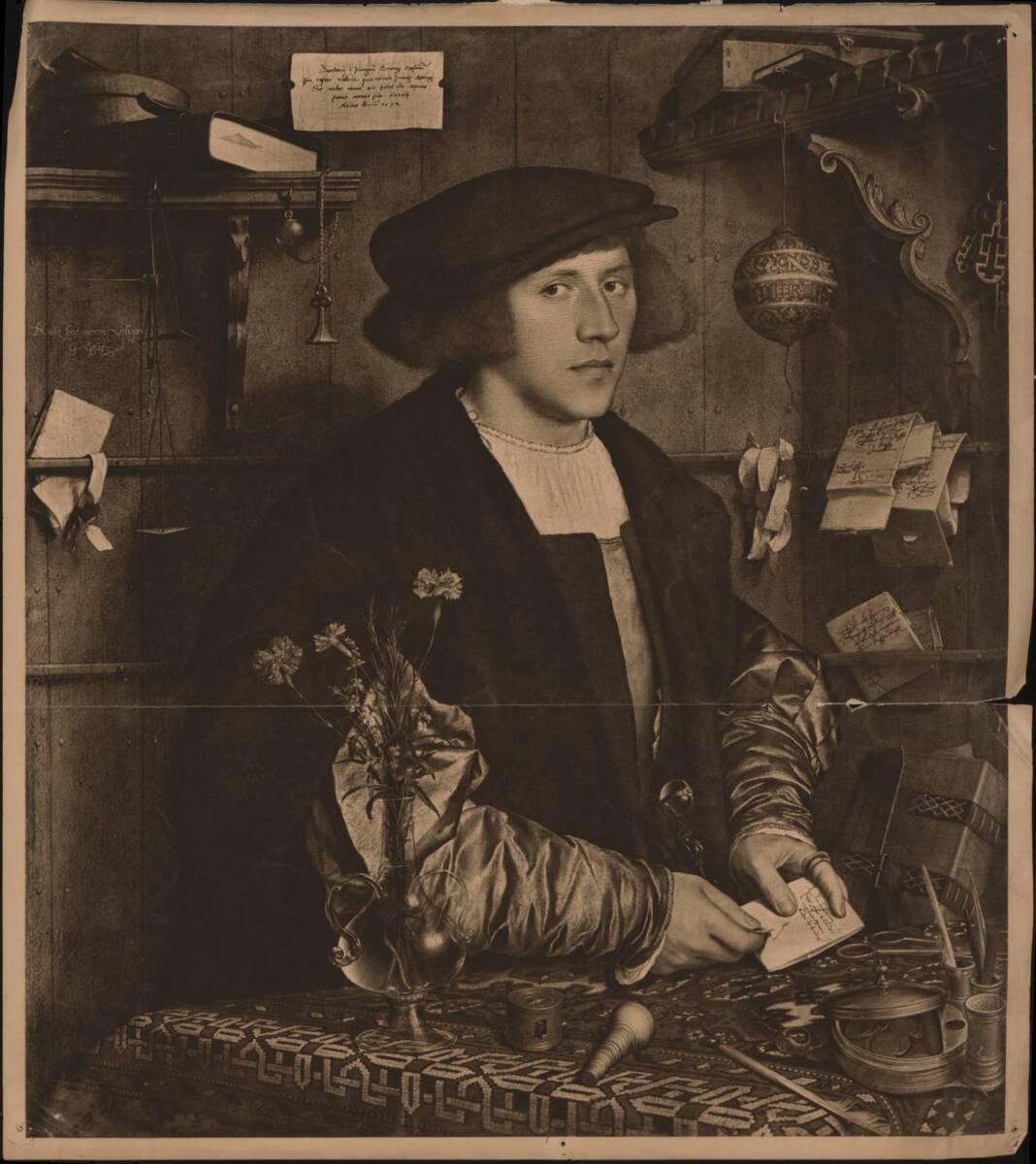 """Kupfertiefdruck der Porträtmalerei """"Der Kaufmann Georg Gisze"""", von Hans Holbein dem Jüngeren (vom Bearbeiter vergebener Titel) von Anonym"""