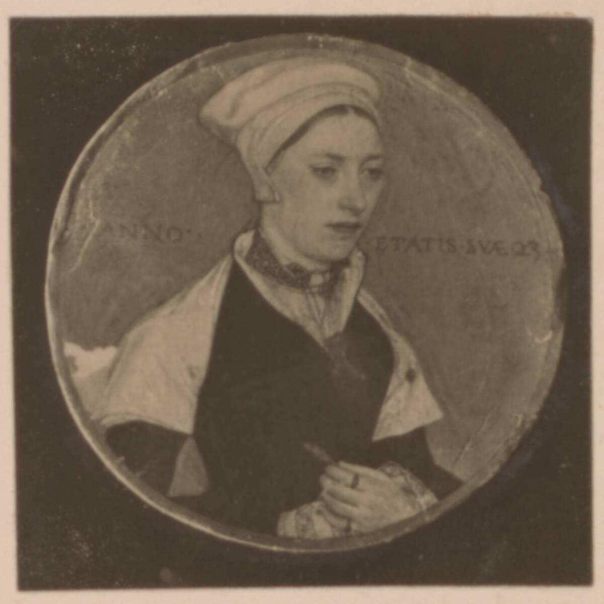Fotografie einer Porträtmalerei der Herzogin von Norfolk, von Hans Holbein dem Jüngeren (vom Bearbeiter vergebener Titel) von Anonym