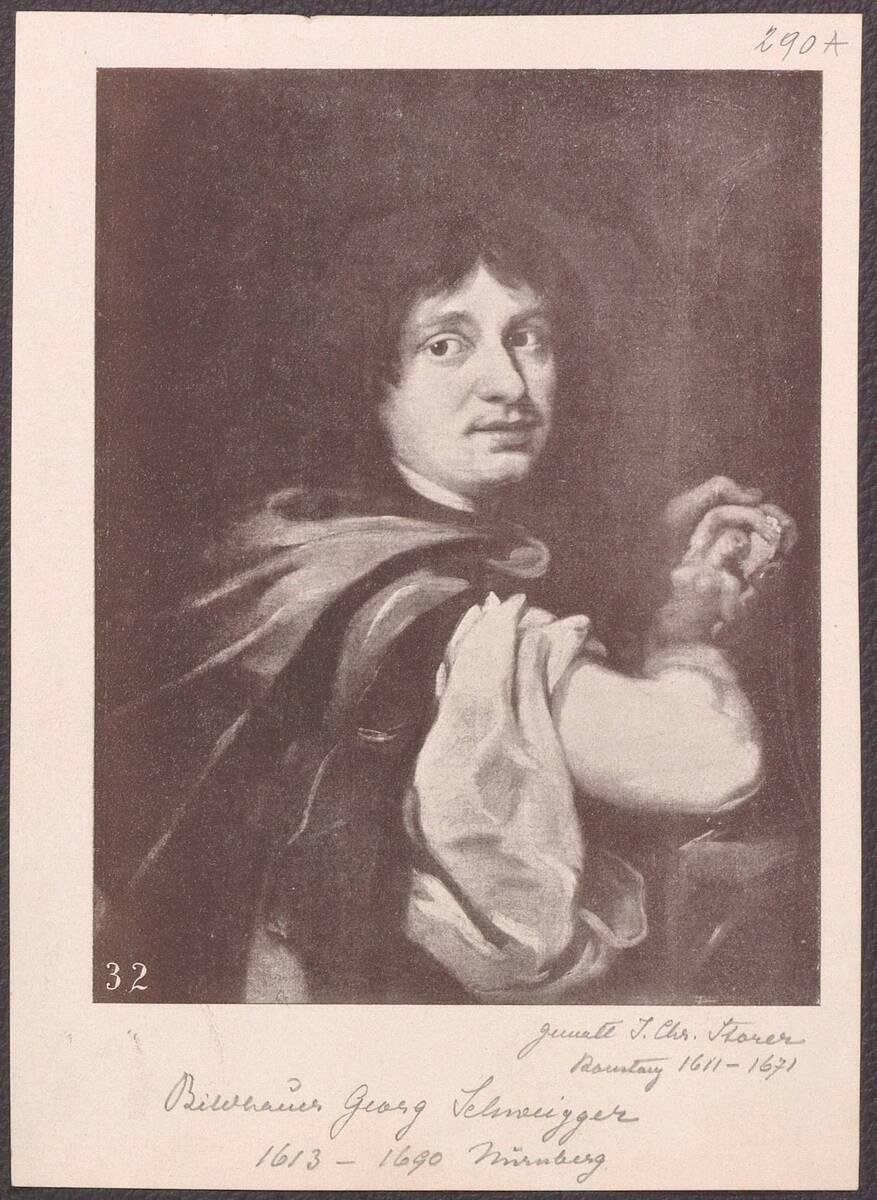 Abbildung eines Porträts des Bildhauers Georg Schweigger von Johann Christoph Storer (vom Bearbeiter vergebener Titel) von Anonym