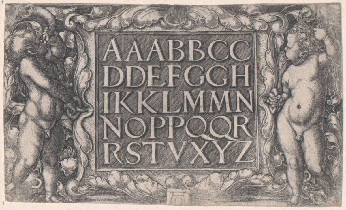 Kartusche mit einem lateinischen Alphabet, von zwei Putti gehalten (vom Bearbeiter vergebener Titel) von Aldegrever, Heinrich