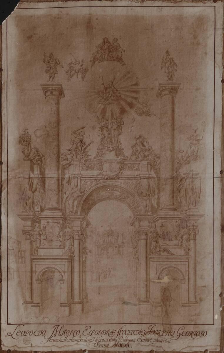 Fotografie einer Zeichnung (?) eines Triumphbogens (vom Bearbeiter vergebener Titel) von Anonym