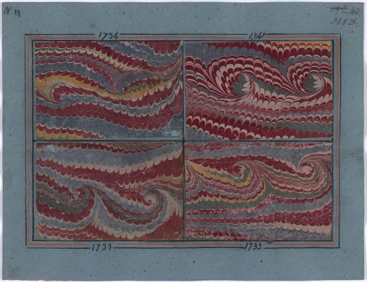 Marmorpapier auf Karton aufkaschiert (Peignés riches, Diaprés, Frisonnés) von Clerget, Charles Ernest
