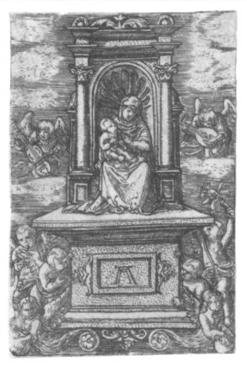 """Die """"schöne Madonna von Regensburg"""", umgeben von musizierenden Engeln (vom Bearbeiter vergebener Titel) von Altdorfer, Albrecht"""