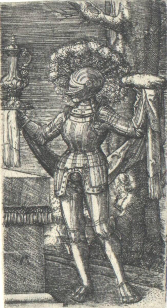 Ritter, evtl. Melchizedek mit Brot und Wein (vom Bearbeiter vergebener Titel) von Altdorfer, Albrecht