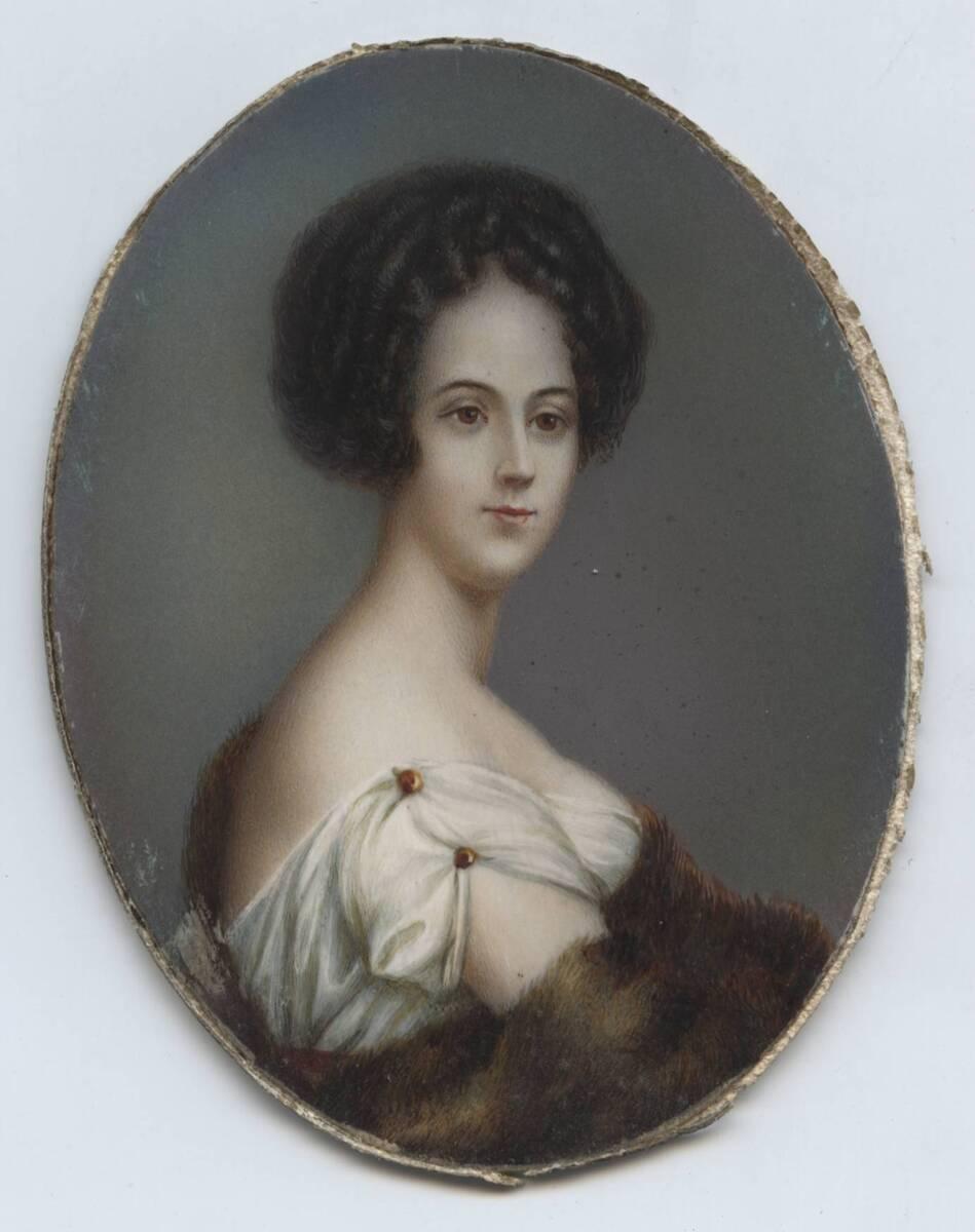 Miniaturporträt eines Mädchens von Hedwig Höna-Senft in rundem Bronze-Rahmen von Höna-Senft, Hedwig