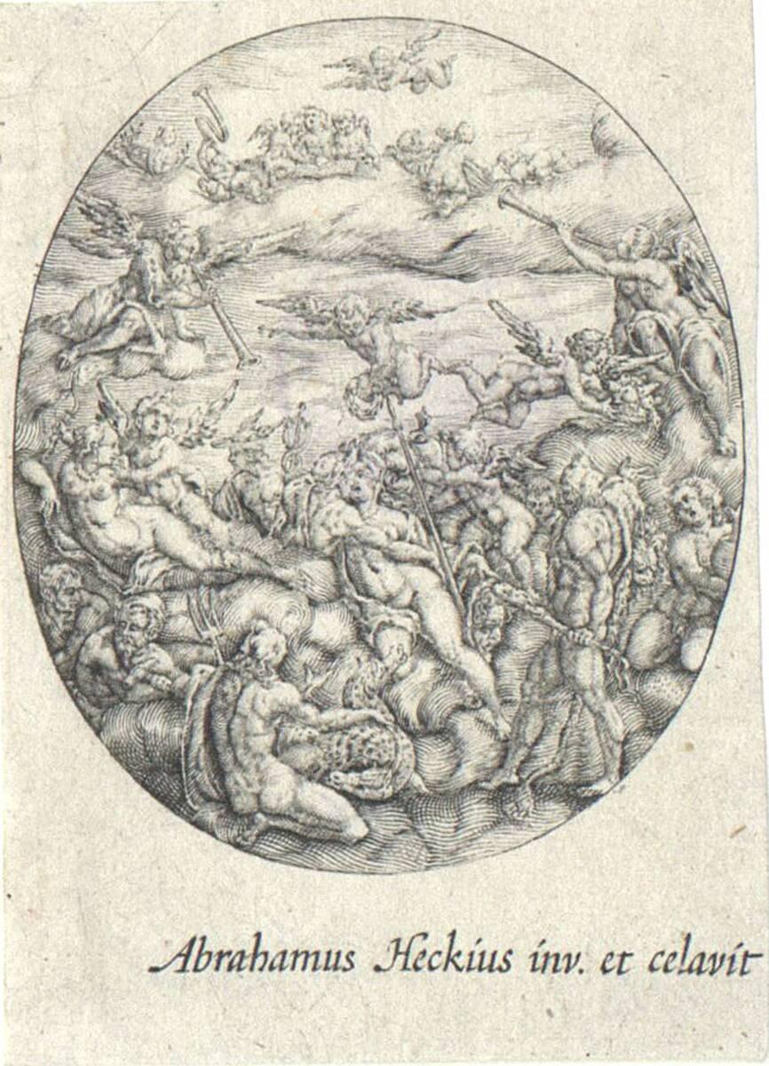 Ovaler Uhrendeckel mit einer Versammlung olympischer Gottheiten von Hecken, Abraham van den
