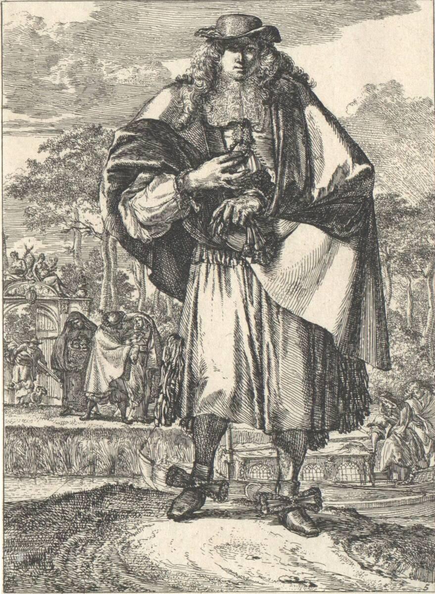 """Ein Edelmann, Blatt 5 aus der Folge """"Figures a la mode"""", herausgegeben von N. Visscher von Hooghe, Romeyn de"""