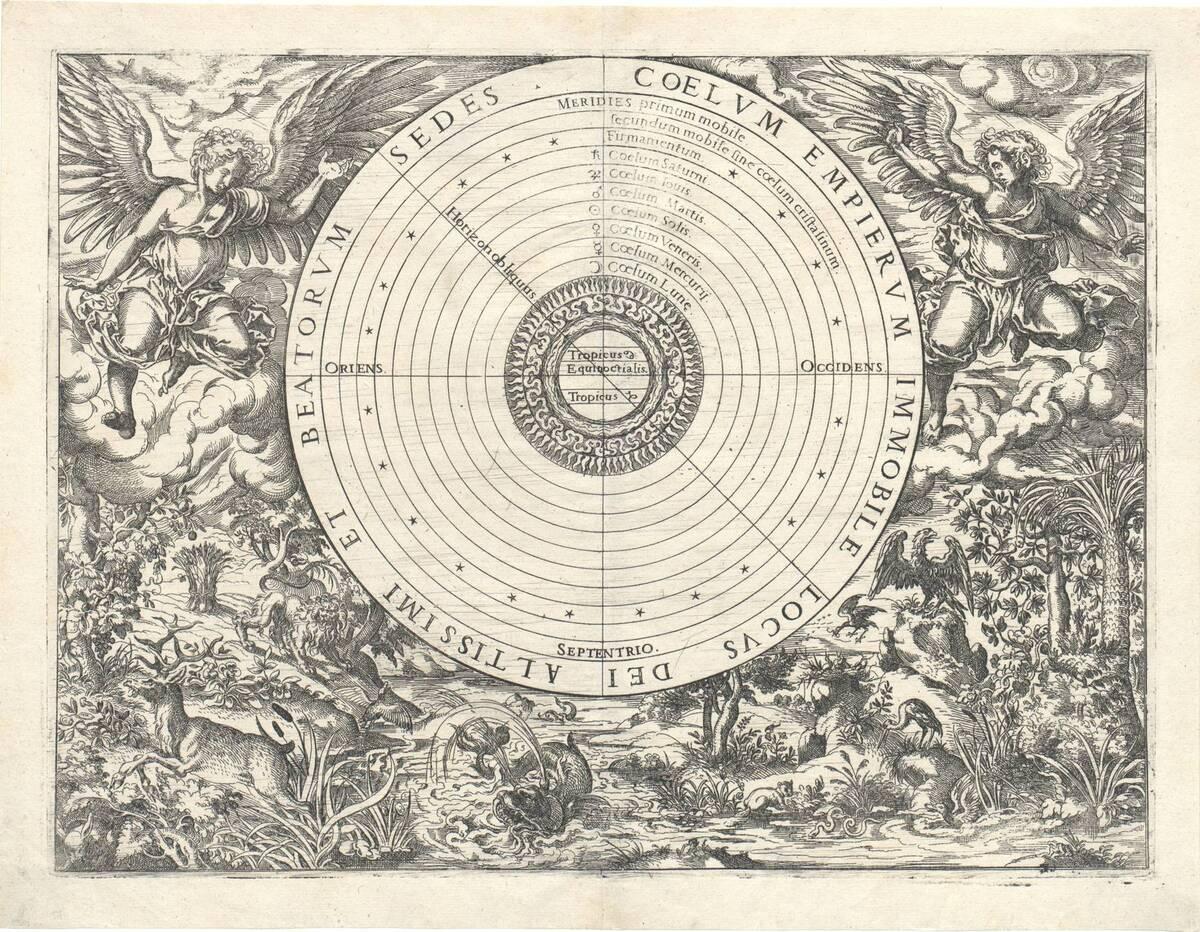 Das Weltsystem. Eine Scheibe in deren Mitte sich die Erde mit den Wendekreisen befindet, in drei weiteren Kreisen Wasser, Luft und Feuer, gefolgt von Planetenbahnen und dem Firmament. Die ganze Scheibe ist umgeben von Tieren und zwei Engeln (aus Chasseneux Catalogus gloriae mundi, Frankfurt 1579) (vom Bearbeiter vergebener Titel) von Amman, Jost