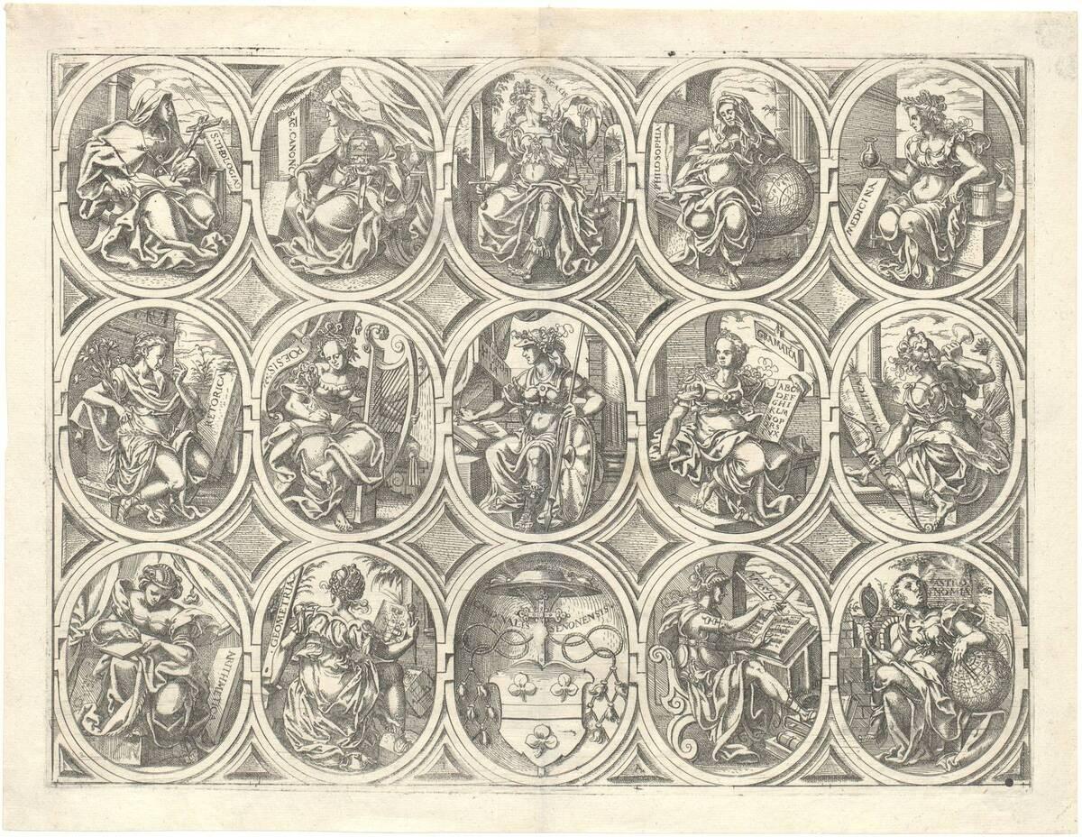 Die Wissenschaften und Künste in 7 Ovalen und zwei halbe Ovale mit Ornamenten (aus Chasseneux Catalogus gloriae mundi, Frankfurt 1579) (vom Bearbeiter vergebener Titel) von Amman, Jost