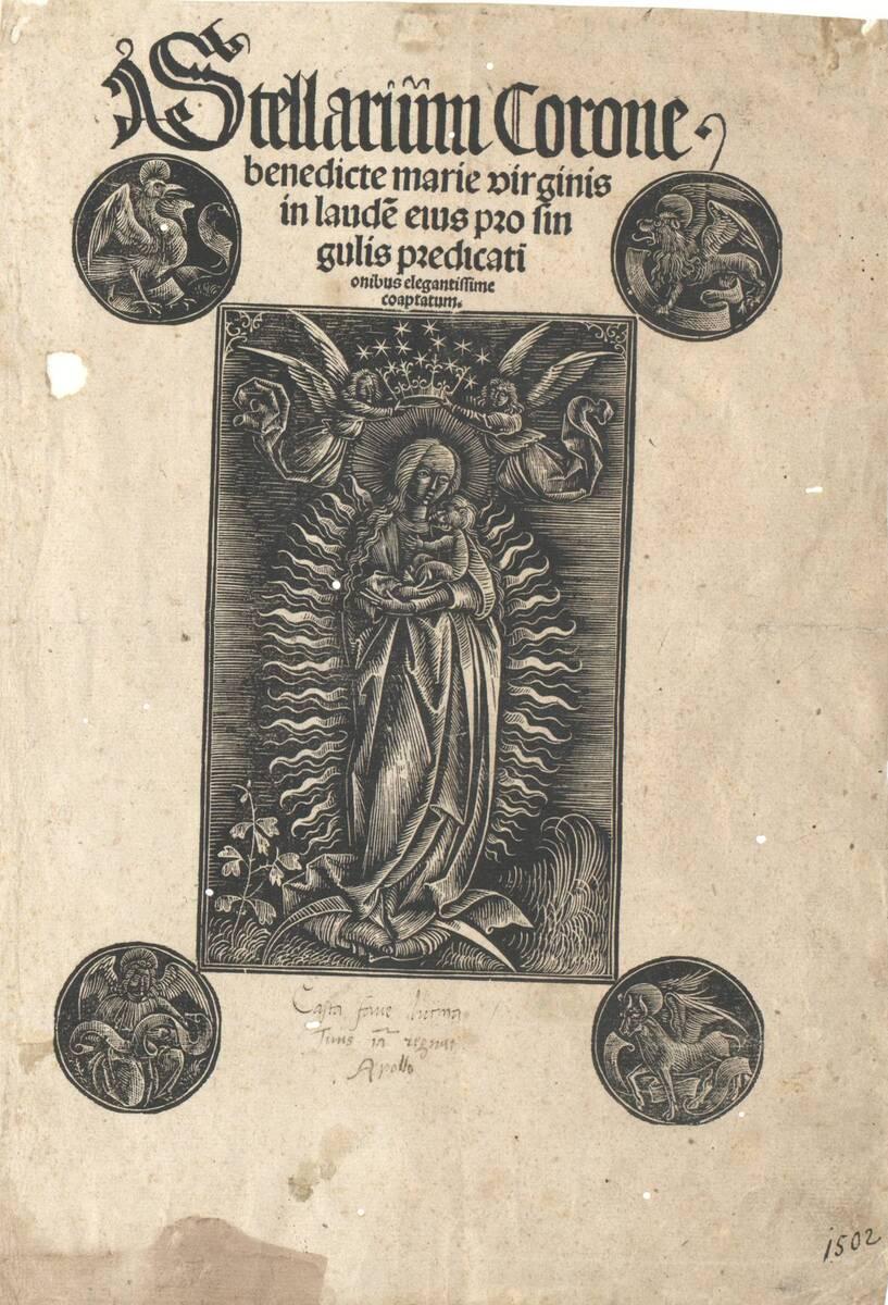 Madonna mit der Sternenkrone, welche von zwei Engeln gehalten wird, an den Ecken die Symbole der vier Evangelisten in Runden, weiß auf schwarz, angewandt zu Stellarium corone benedicte marie virginis von Anonym