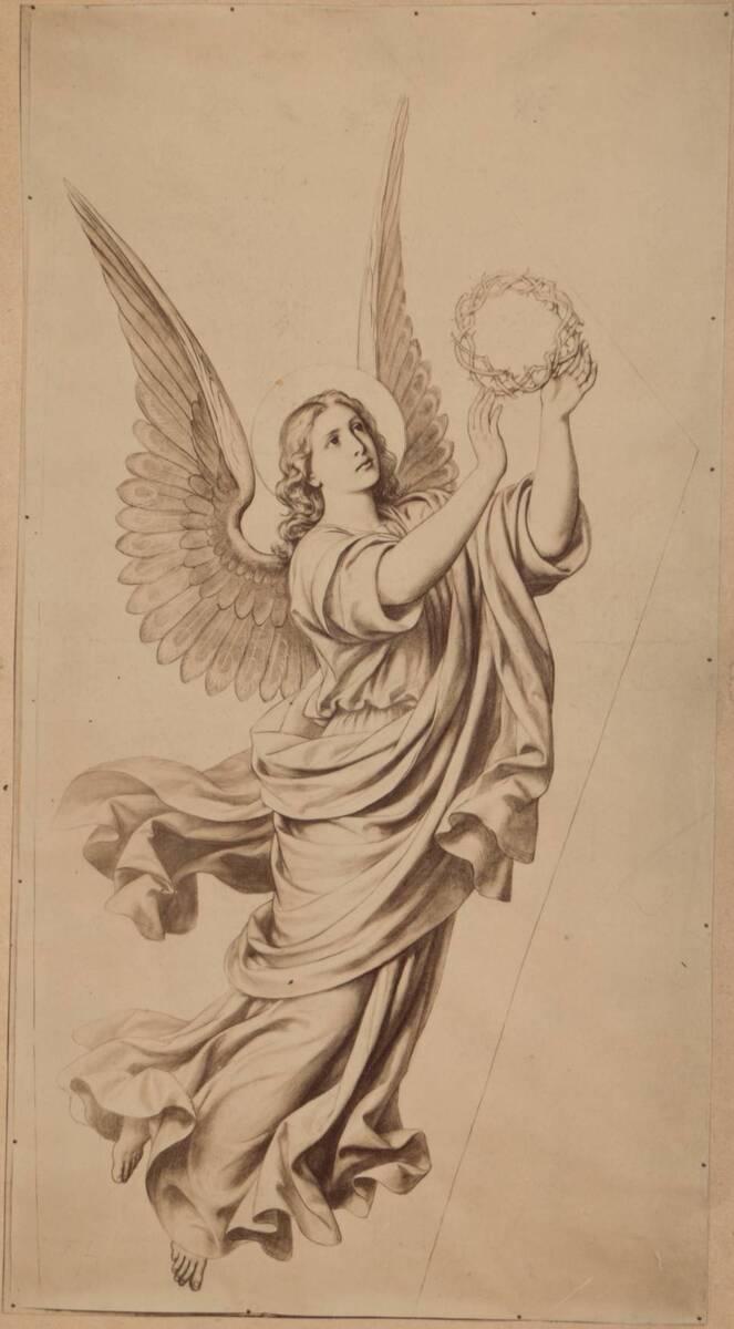 Fotografie einer Zeichnung eines Engels mit Dornenkranz (vom Bearbeiter vergebener Titel) von Anonym
