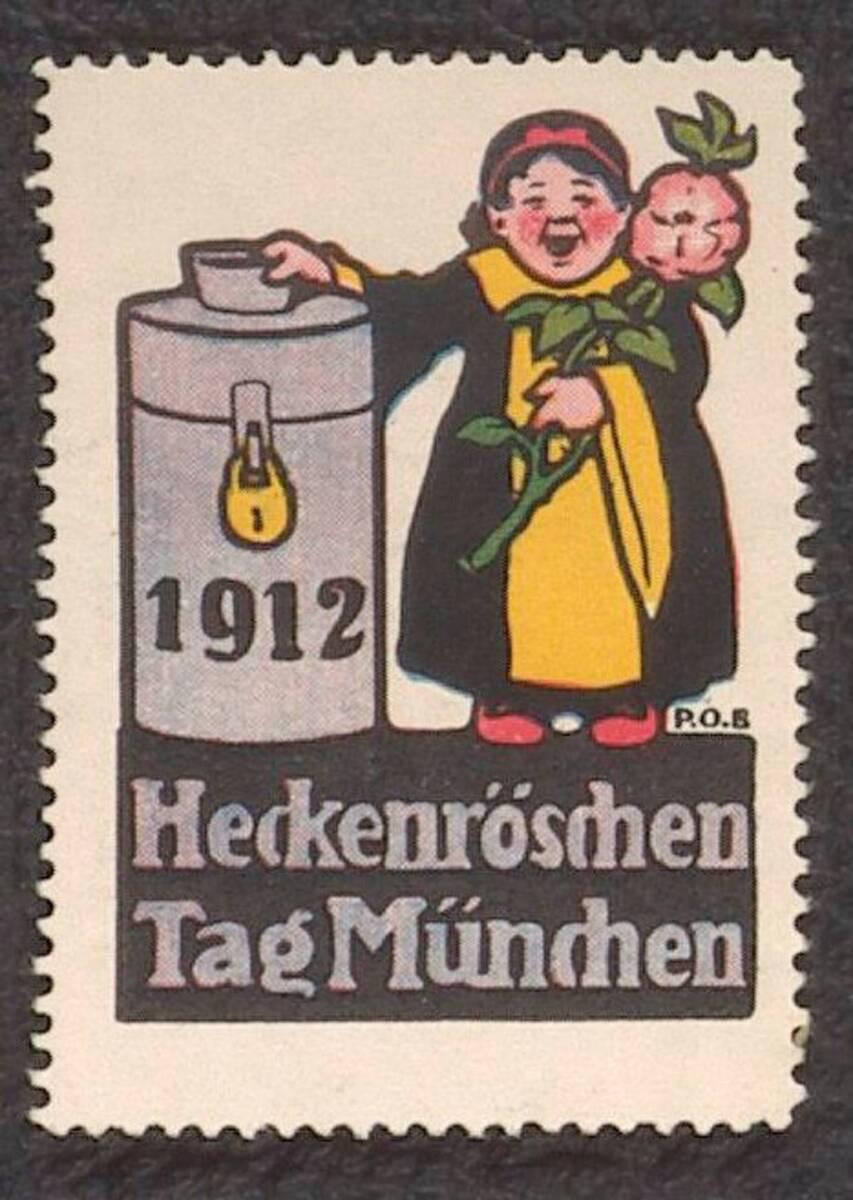 Werbemarke zum Heckenröschen-Tag 1912 in München von Engelhard, Paul Otto