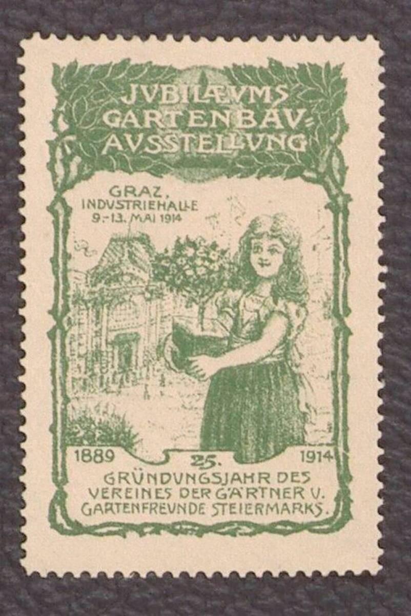Ausstellungsmarke zur Jubiläums Gartenbau-Ausstellung 1914 in Graz