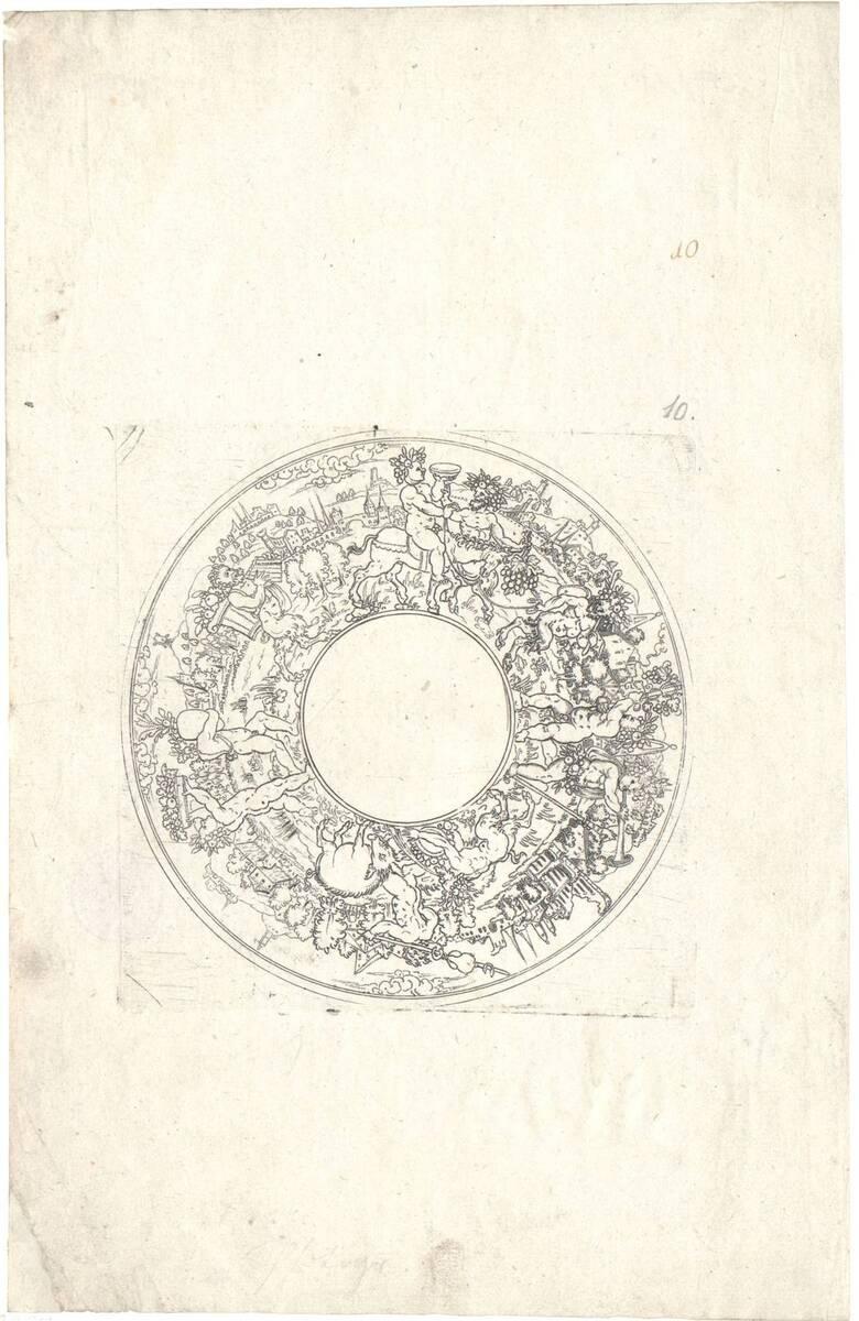 Schalenzeichnung mit dem Triumph des Bacchus (vom Bearbeiter vergebener Titel) von Silber, Jonas