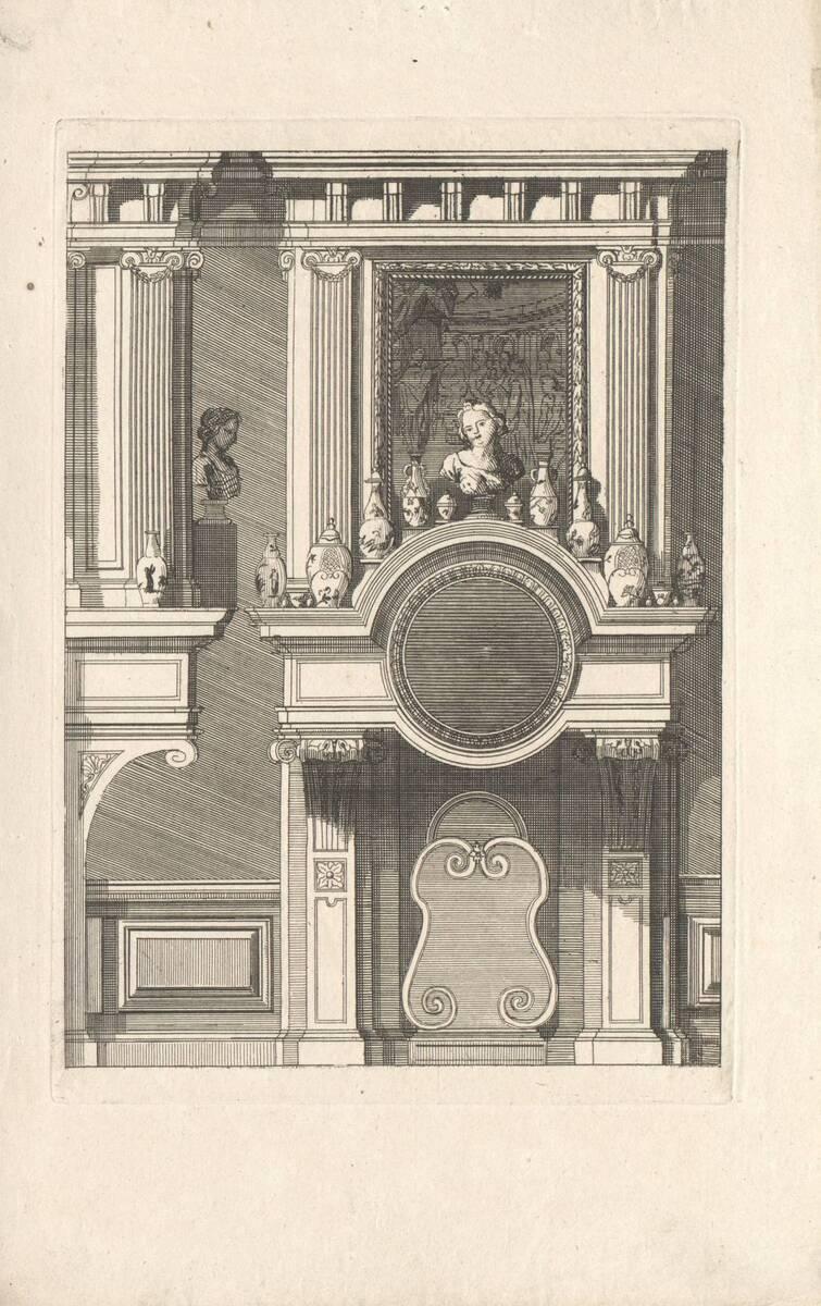 """Ein Kamin, Blatt aus der Folge """"Nouveaux Lievre de Cheminées a la Hollandoise, invente par D. Marot Architecte"""" (vom Bearbeiter vergebener Titel) von Marot, Daniel"""