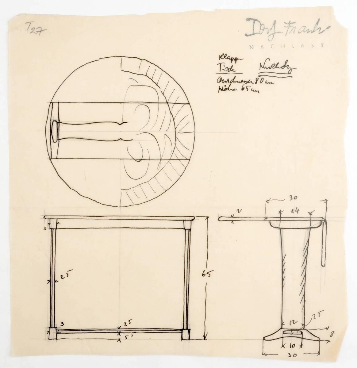 Planzeichnung für einen Klapptisch aus Nußholz mit einem massiven Tischbein (T27) (vom Bearbeiter vergebener Titel) von Frank, Josef