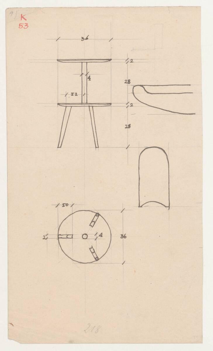 Planzeichnung für einen Beistelltisch mit zwei Platten (K53) (vom Bearbeiter vergebener Titel) von Frank, Josef