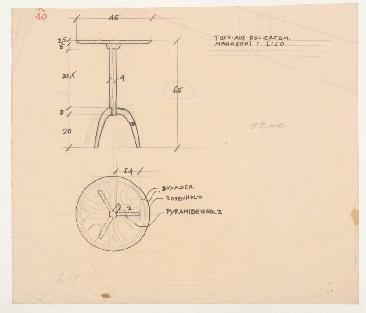 Planzeichnung für einen Beistelltisch aus poliertem Mahagoni (K40) (vom Bearbeiter vergebener Titel) von Frank, Josef