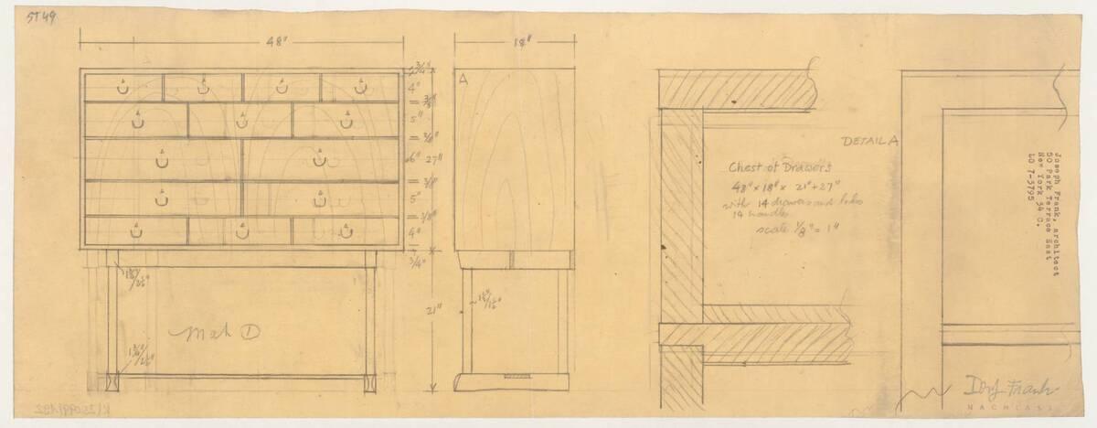 Planzeichnung für einen Zierschrank (ST49) (vom Bearbeiter vergebener Titel) von Frank, Josef