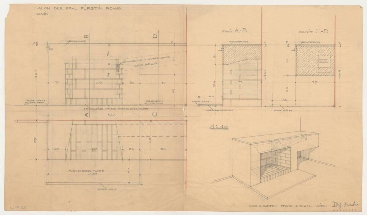 Entwurf für einen Kamin für den Salon der Fürstin Rohan, entworfen von der Firma Haus & Garten (vom Bearbeiter vergebener Titel) von Frank, Josef