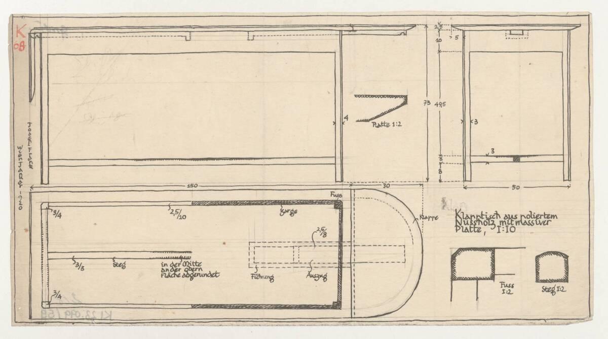 Planzeichnung für einen Klapptisch aus poliertem Nussholz mit massiver Platte (K69) (vom Bearbeiter vergebener Titel) von Frank, Josef