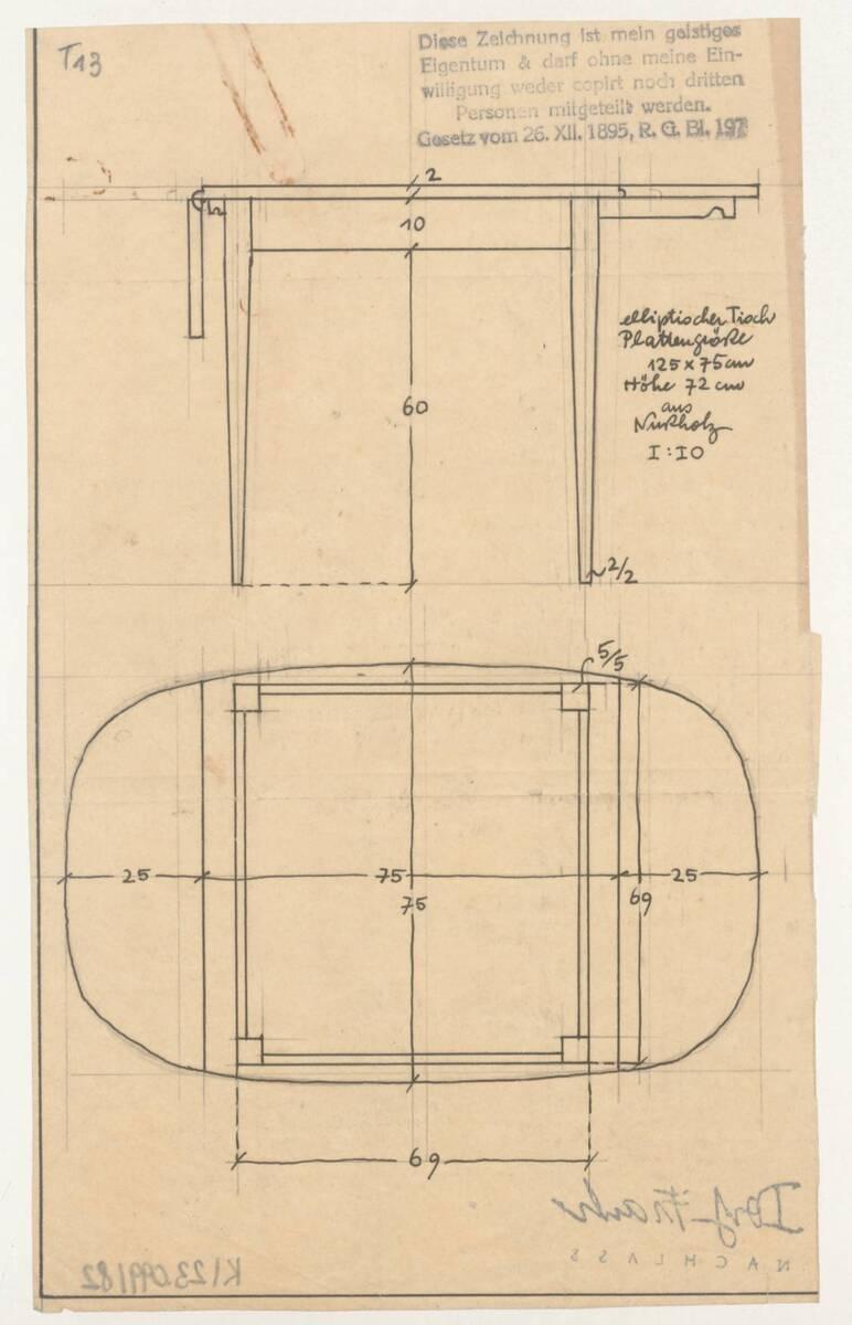 Planzeichnung für einen elliptischen Tisch aus Nußholz (T13) (vom Bearbeiter vergebener Titel) von Frank, Josef
