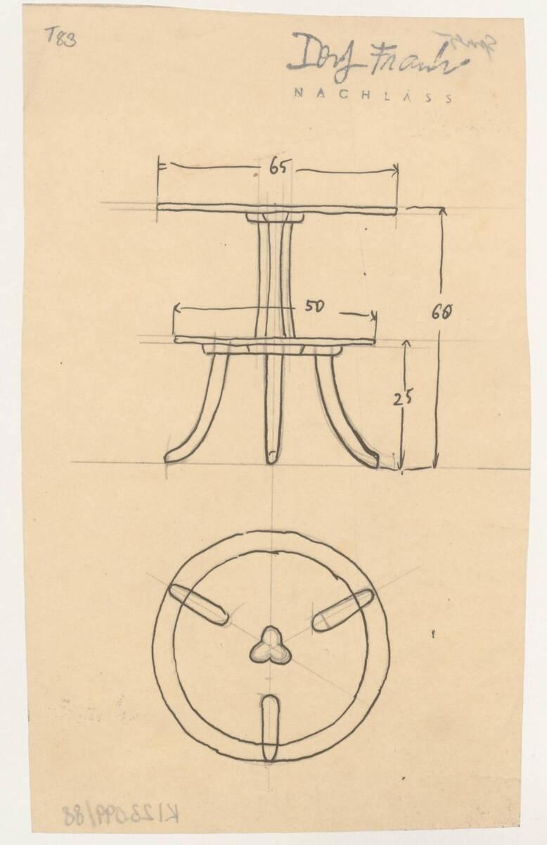 Planzeichnung für einen Beistelltisch mit zwei Etagen (Blumentisch) (T83) (vom Bearbeiter vergebener Titel) von Frank, Josef
