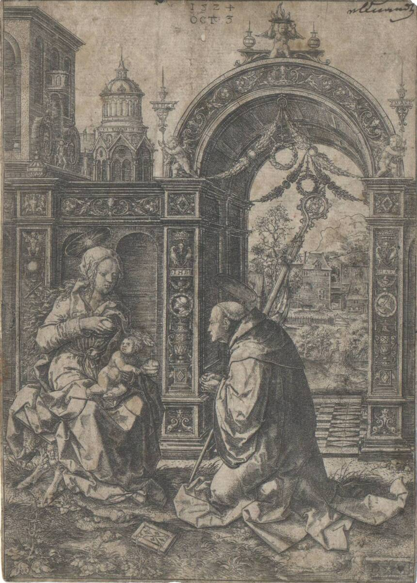 Der heilige Bernhard betet das Christuskind an (vom Bearbeiter vergebener Titel) von Vellert, Dirk Jakobsz.