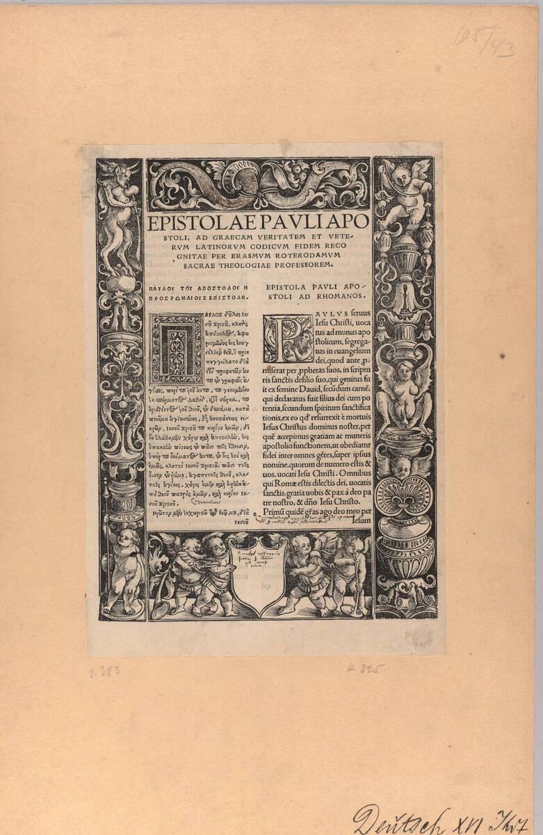 Randeinfassung aus vier Leisten gebildet, unten ein leeres Wappenschild und vier Kinder, Holzschnitt (vom Bearbeiter vergebener Titel) von Graf, Urs